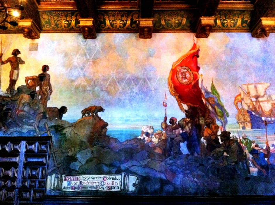 Mural of Cabrillo meeting the Canalino Chumash, as seen inside the Santa Barbara courthouse.