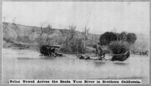 Fording Santa Ynez River 1907
