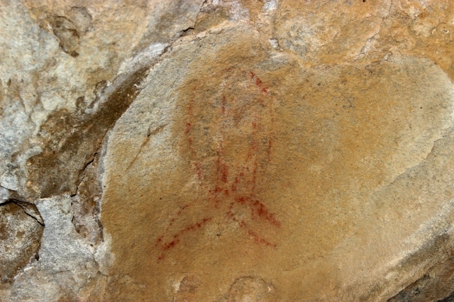 Chumash swordfish cave rock art pictograph