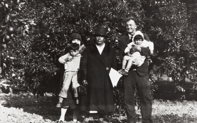 John P. Harrington two Barbareno Chumash consultants at the site of their former adobe home, Indian Orchard, Goleta  1931 Mary J. Yee holding her son John Yee, Lucrecia Garcia Harrington holding angela yee