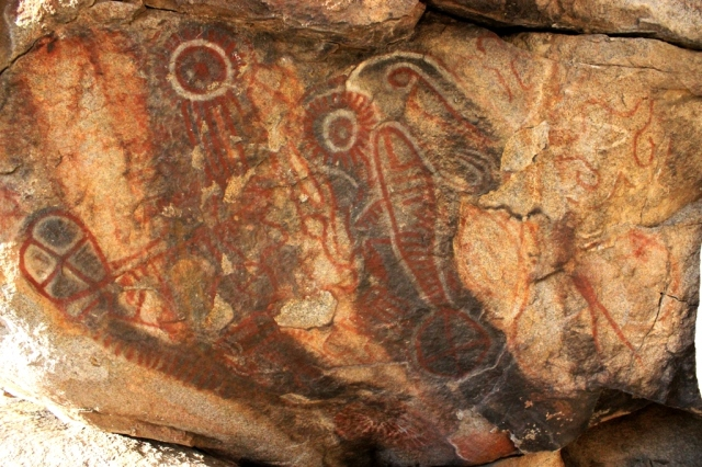 Indian rock art pictographs