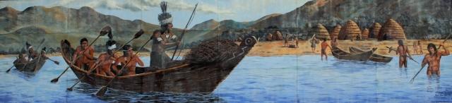 Chumash maritime culture fishing scene mural Lompoc Santa Barbara County