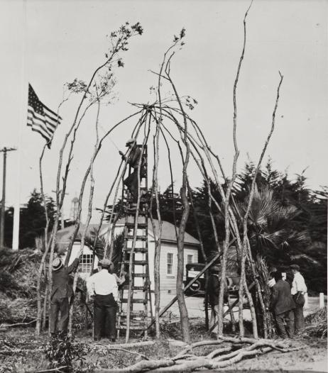Construction of a Chumash house frame using willow poles, Ventura County Fair 1923.